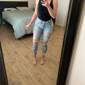 High Rise American Eagle Ripped Jeggings